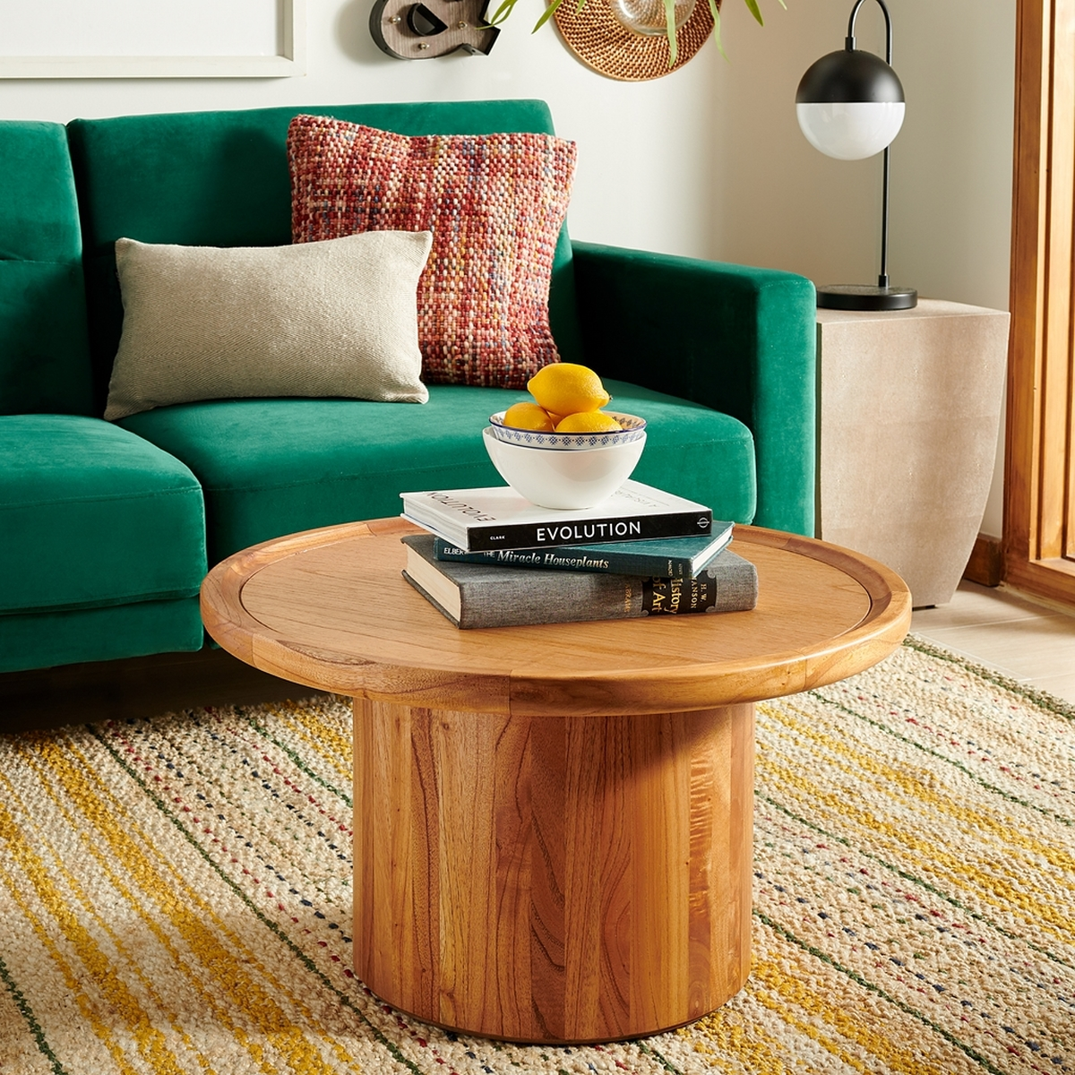 Devin Round Pedestal Coffee Table - Natural Brown - Arlo Home