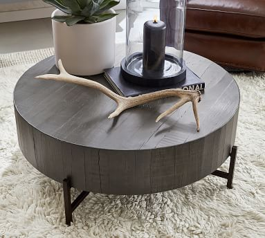 Fargo Reclaimed Wood Coffee Table, Distressed Gray