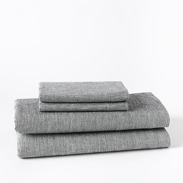 Belgian Linen Melange Sheet Set, King, Slate