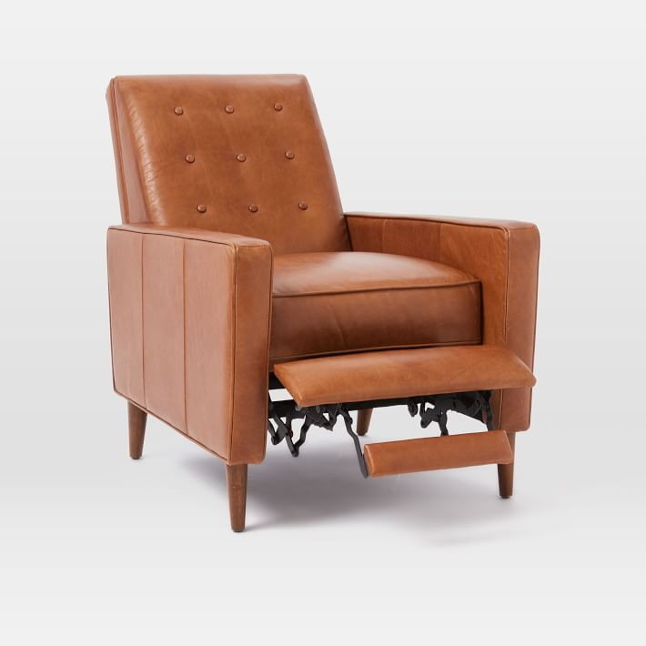 Rhys Mid-Century Leather Recliner, Saddle