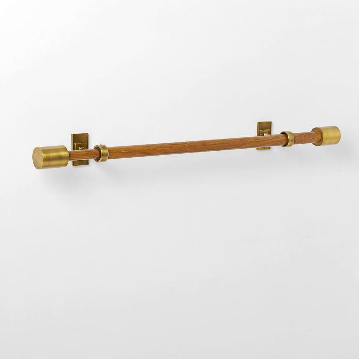 """Mid-Century Rod, Wood/Brass, 28""""-48"""""""