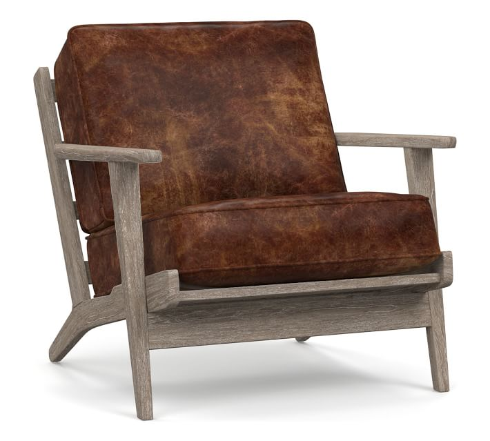 Raylan Leather Armchair with Brown Frame, Down Blend Wrapped Cushions, Havana Brown