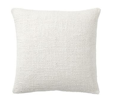 """Faye Textured Linen Pillow Cover, 20"""", Ivory"""
