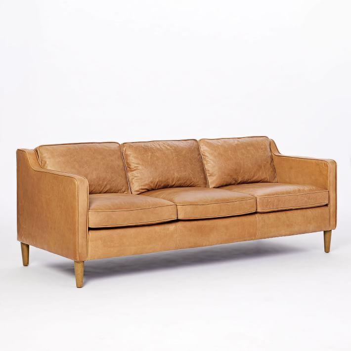 Hamilton Leather 3-Seater Sofa, Burnt Sienna, Almond