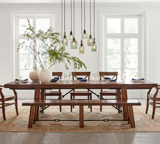 "Benchwright Extending Rectangular Dining Table, Medium 74"" - 104"" L, Rustic Mahogany"