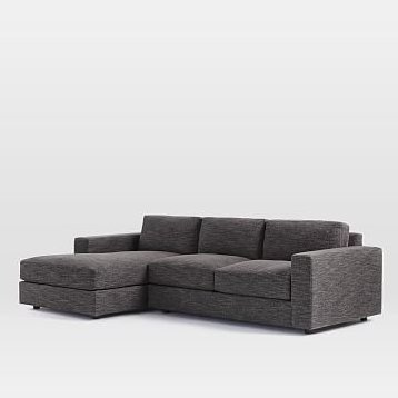 Urban Set 2: Right Arm 2 Seater Sofa , Left Arm Chaise, Poly, Heathered Tweed, Charcoal