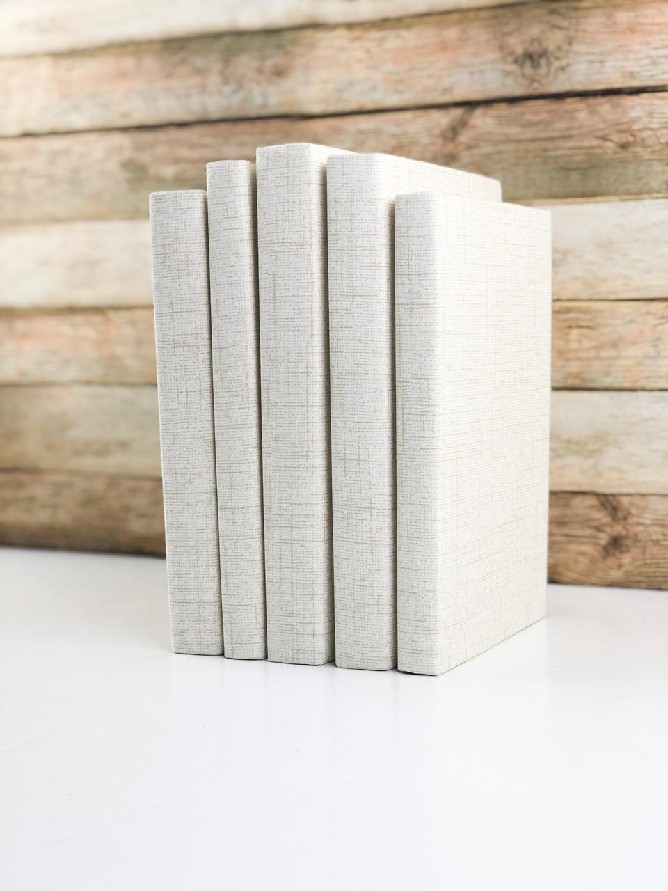 Set of 5 Decorative Books- Textured Cream
