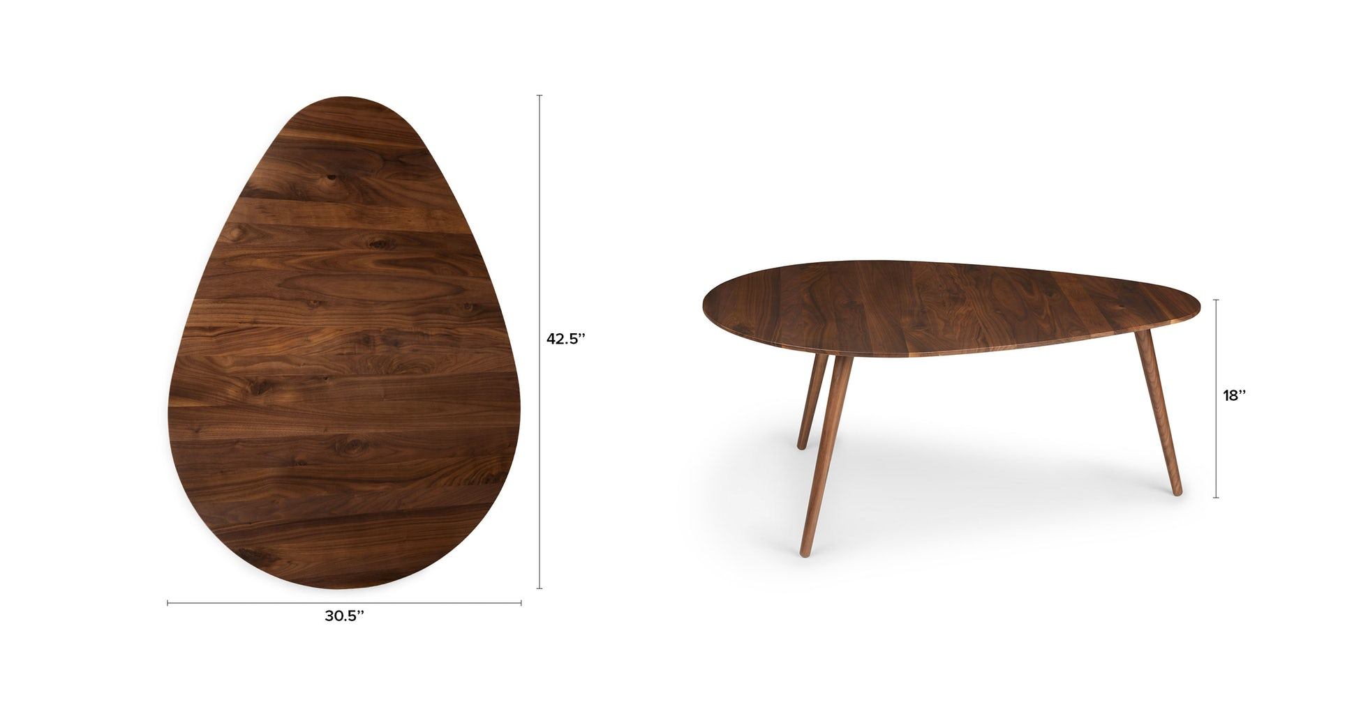 "Amoeba Wild Walnut 42.5"" Wide Coffee Table"
