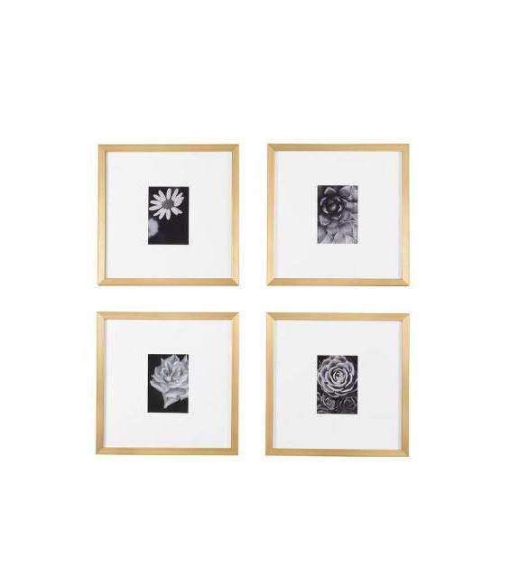 StyleWell Gold Frame with White Matte Gallery Wall Picture Frames (Set of 4)