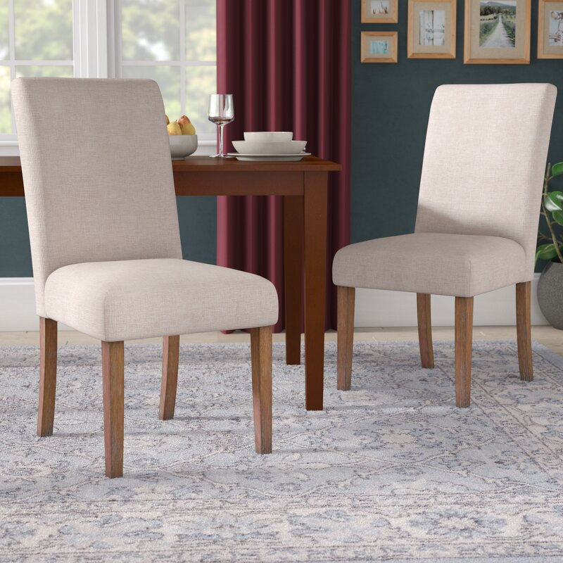 Abbate Linen Upholstered Parson Chair in Beige (Set of 2)