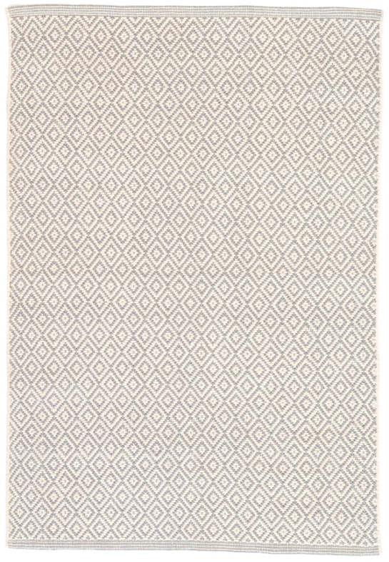 Lattice Dove Grey Woven Cotton Rug - 8' x 10'
