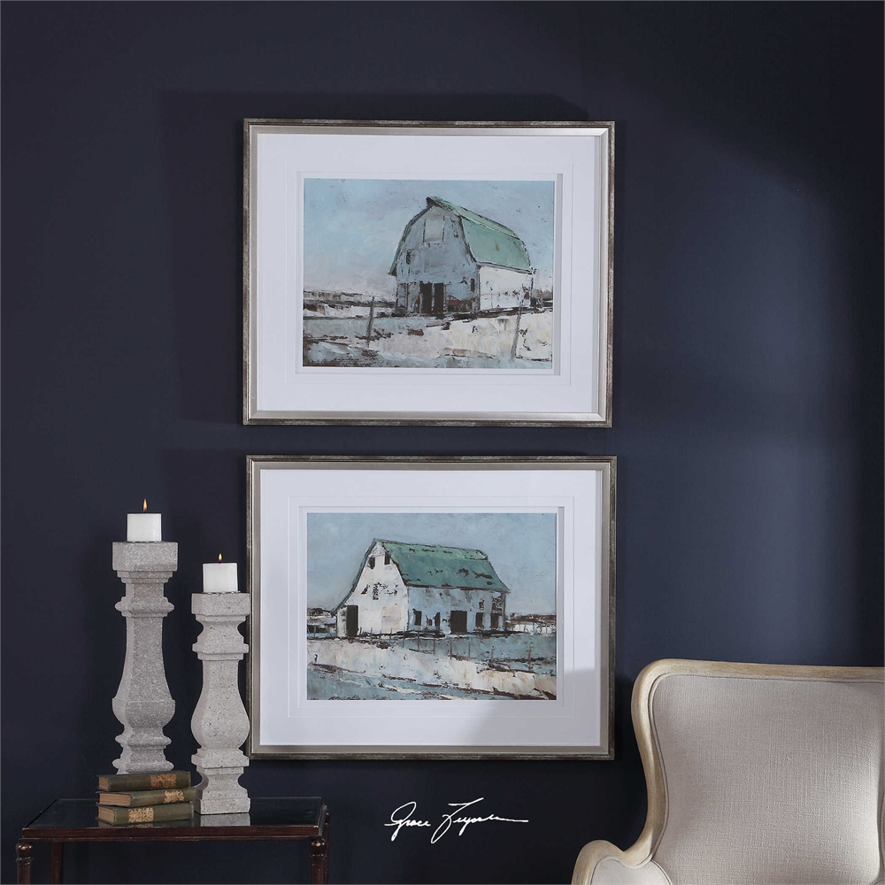 Plein Air Barns Framed Prints, S/2