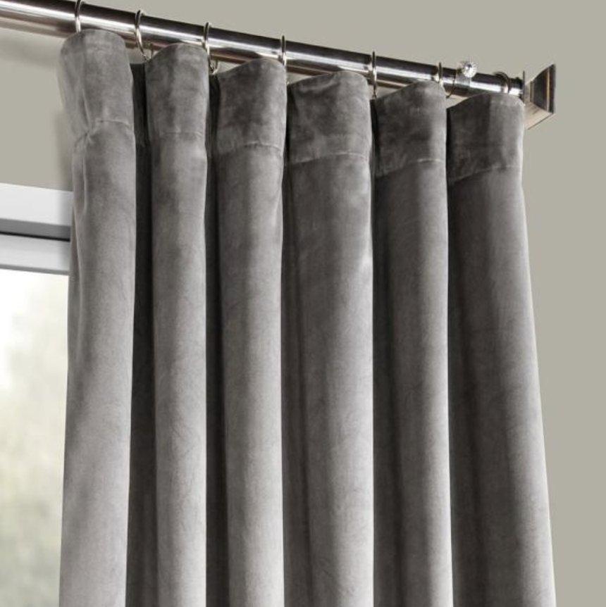 Exclusive Fabrics & Furnishings Destiny Grey Plush Velvet Curtain - 50 in. W x 96 in. L