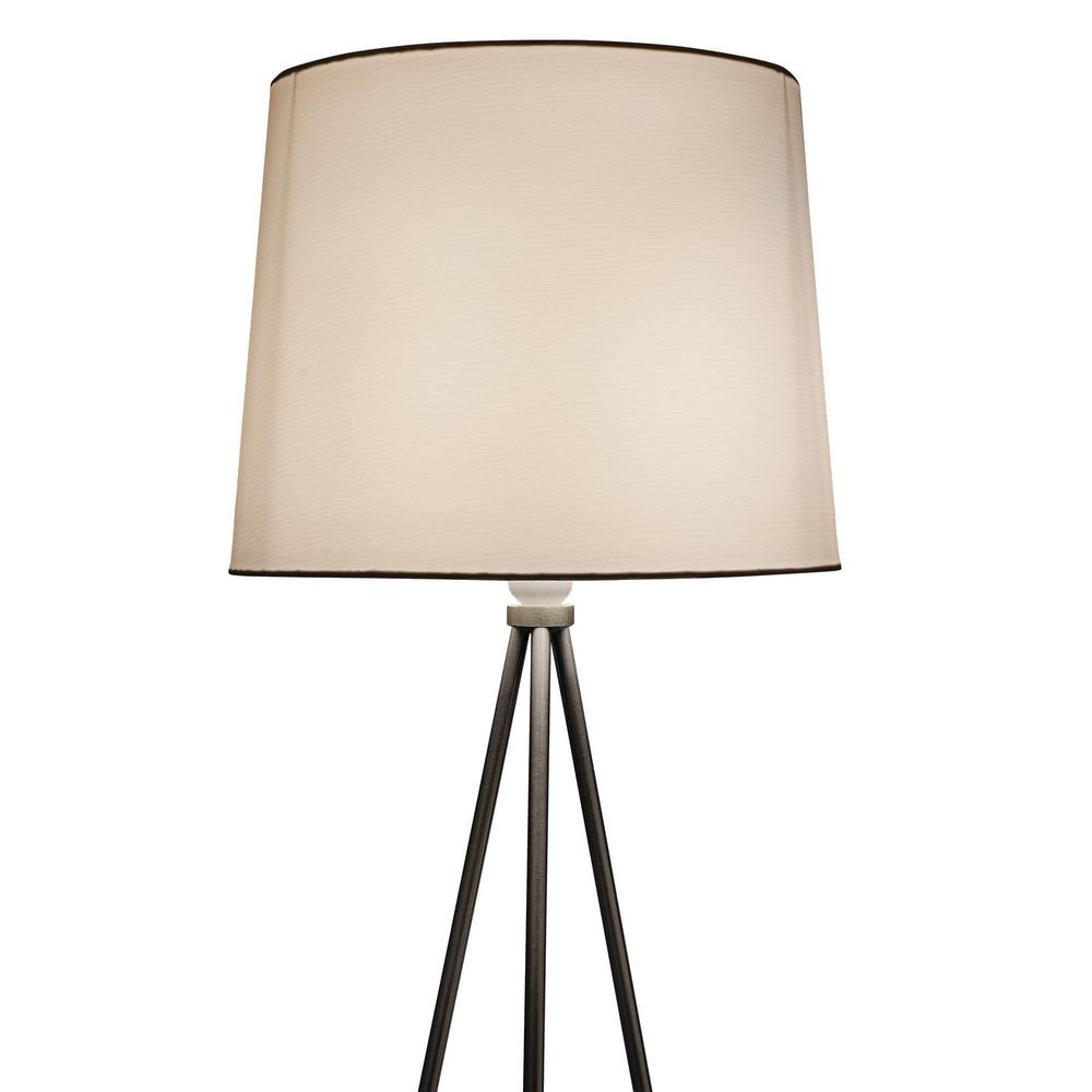 Newhouse Lighting Alexandria Contemporary Tripod Floor Lamp With White Lamp Shade and E26 Light Socket - Free LED Bulb Included