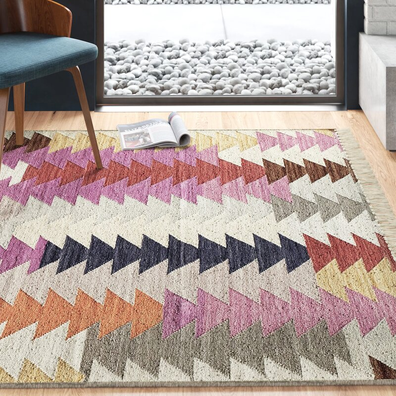 Marianne Hand-Woven Gray/Pink/Blue Area Rug