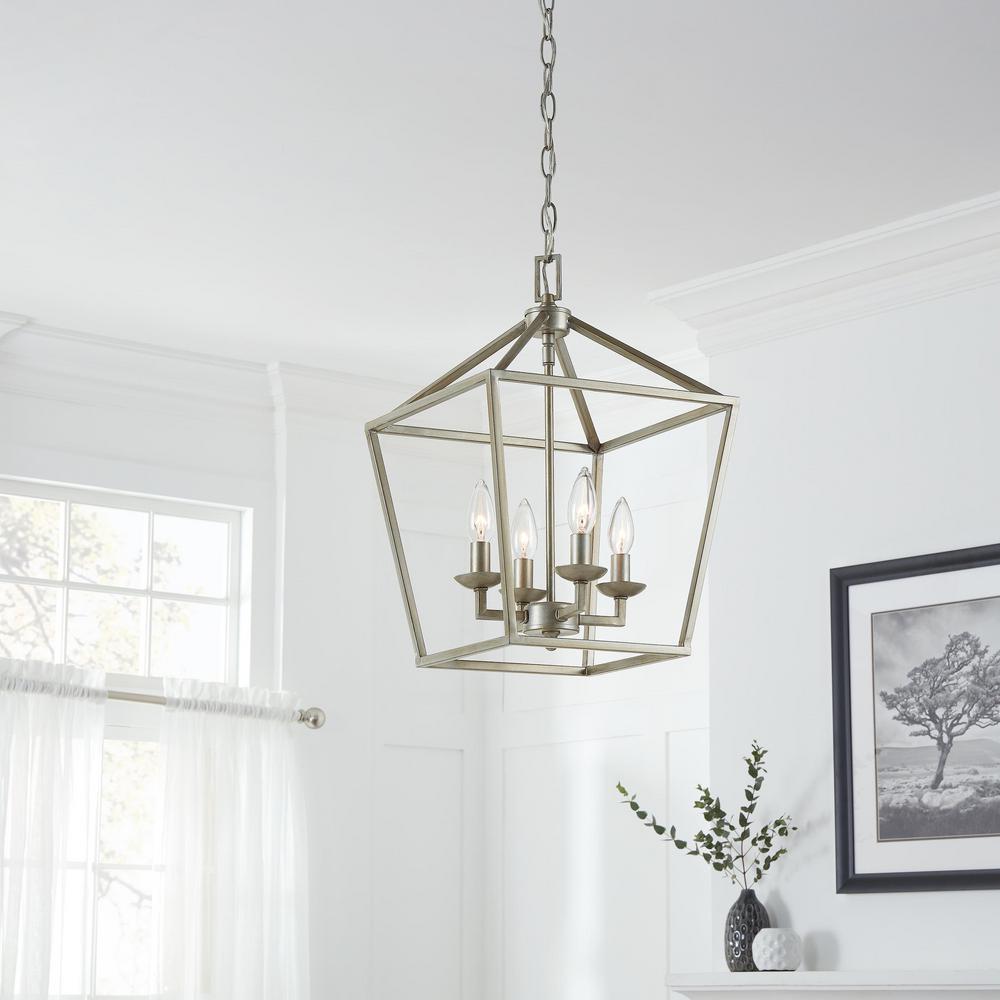 Home Decorators Collection Weyburn 4-Light Antique Silver Leaf Caged Chandelier