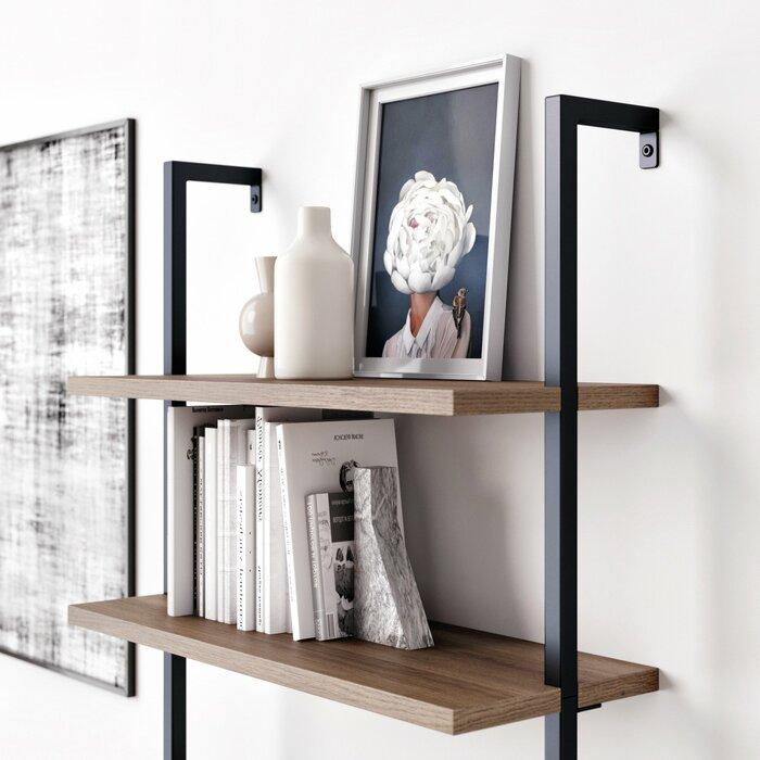 """Dawud 85"""" H x 30"""" W Metal Ladder Bookcase"""