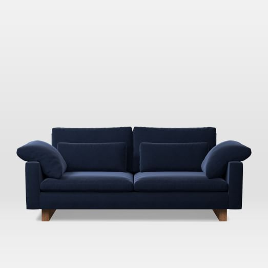 """Harmony 82"""" Sofa (2.5 Seater), Performance Velvet, Ink Blue"""