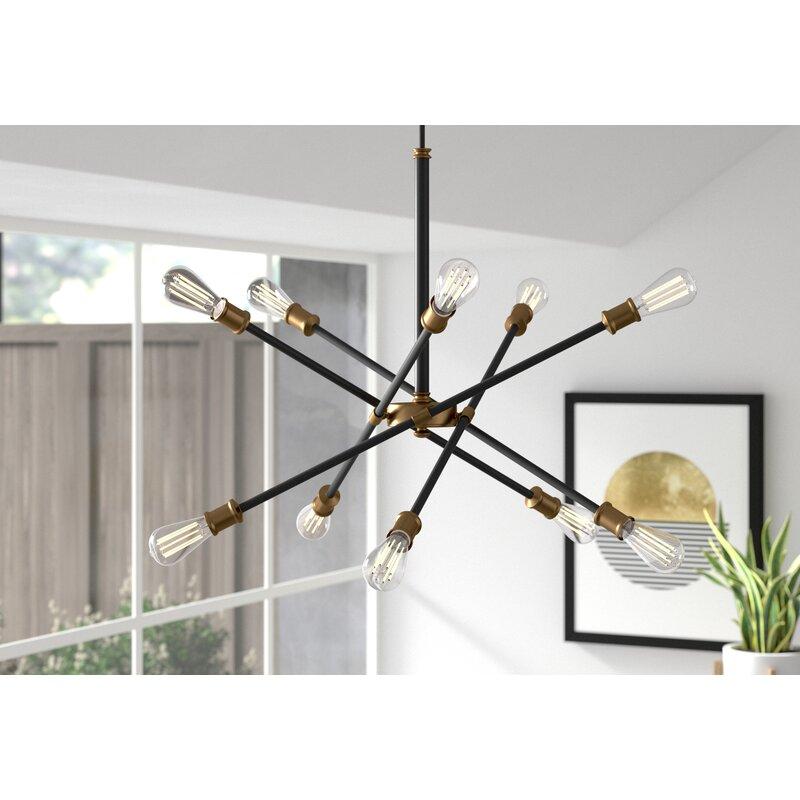 Everett 10-Light Sputnik Modern Linear Chandelier black/brass