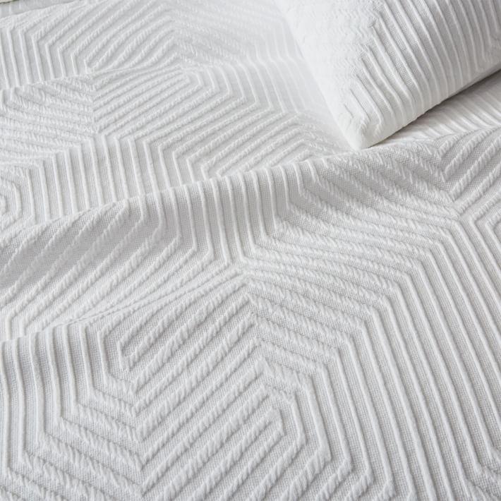 Organic Modern Geo Duvet Cover, Full/Queen, White
