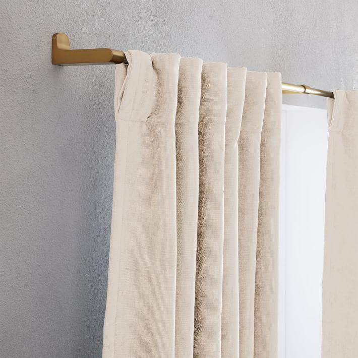 "Worn Velvet Curtain with Cotton Lining, Alabaster / 48""x108""/  Set of 2"