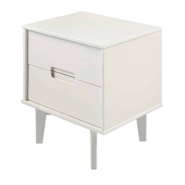 Gartner Groove Handle Wood 2 Drawer Nightstand