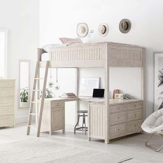 Beadboard Loft Bed, Full, Simply White