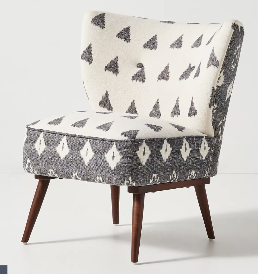 Woven Ikat Petite Accent Chair By Anthropologie in White