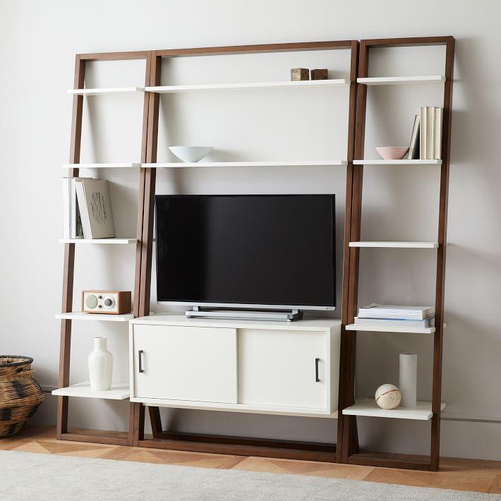 -Ladder Shelf Leaning Wall Storage Narrow Shelf - White Lacquer/Espresso-individual