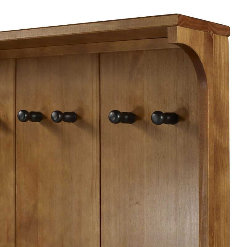 Malena Pine Solid Wood Hall Tree with Bench and Shoe Storage