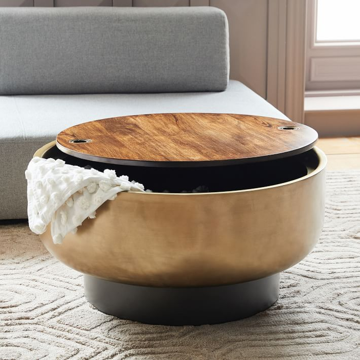 Drum Storage Coffee Table Walnut Antique Brass West Elm