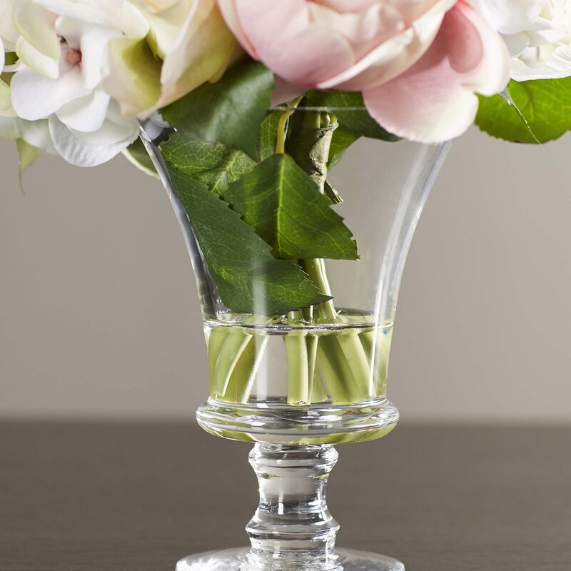 Faux Rose and Hydrangea Floral Arrangement in Pedestal Glass Vase