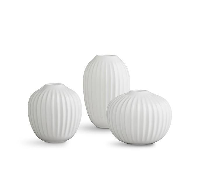 Kahler Hammershi Miniature Vases, White, S/3