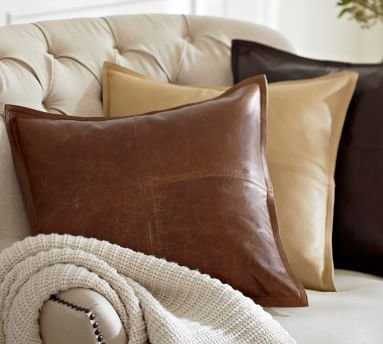 """Pieced Leather Lumbar Pillow Cover, 16x26"""", Whiskey"""