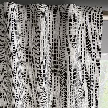 "Cotton Canvas Bomu Curtain, Set of 2, Midnight, 48""x96"""