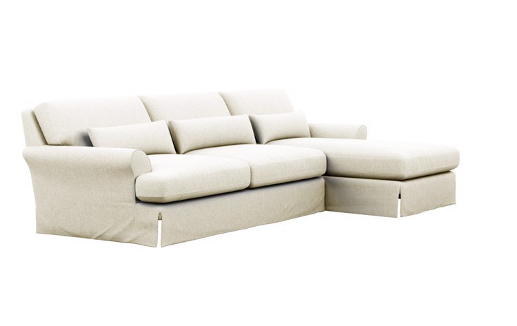 Maxwell Slipcovered Chaise Sectional in Ivory Heavy Cloth with Oiled Walnut with Brass Cap legs