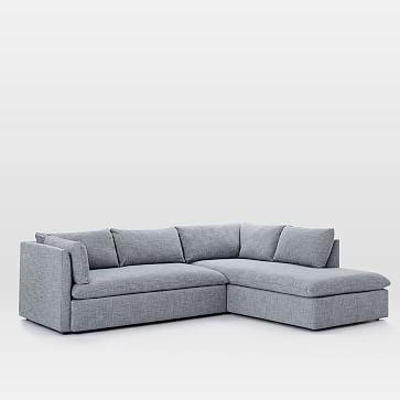 Shelter Set 2- Right Arm Sofa, Left Arm Terminal Chaise, Pebble Weave, Aegean Blue