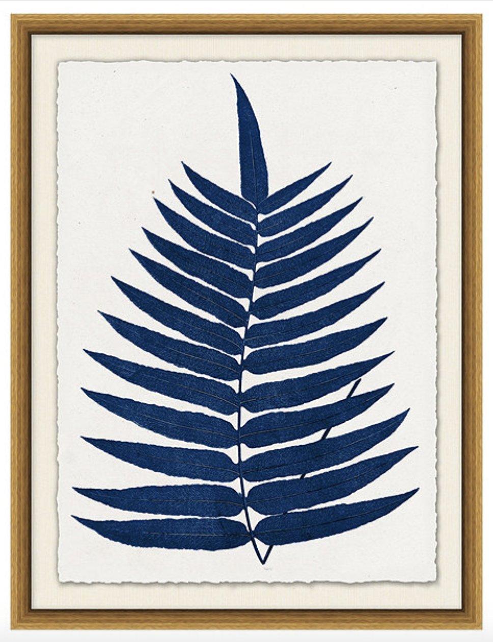 Indigo Fern Leaf Art  4.7- Print 1