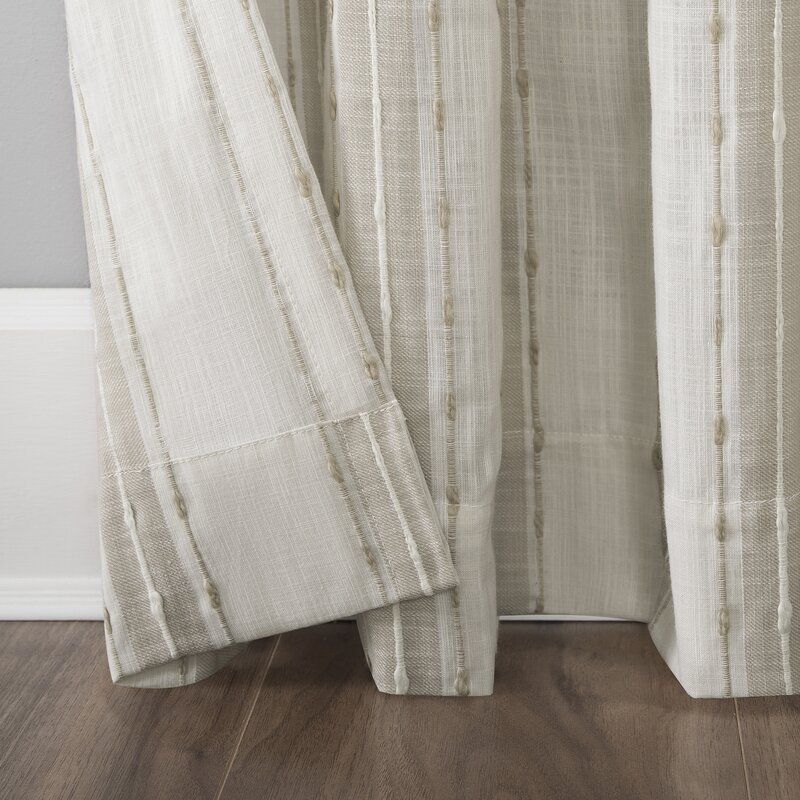 Senita Slub Texture Cotton Striped Sheer Rod Pocket Single Curtain Panel
