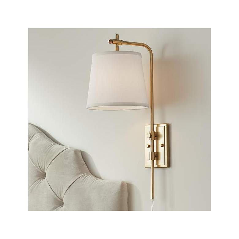 Seline Warm Gold Adjustable Plug-In Wall Lamp - Style # 71H55
