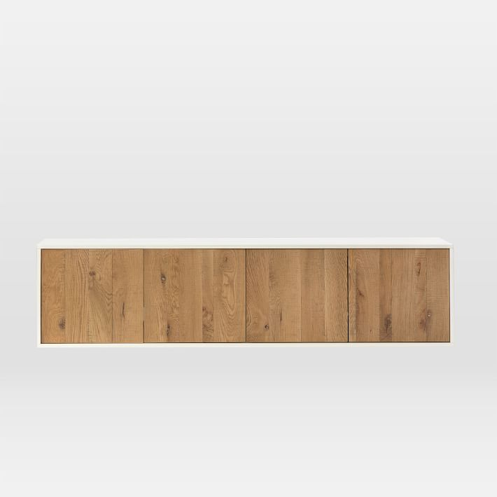 Oak Wood + Lacquer Floating Media Console