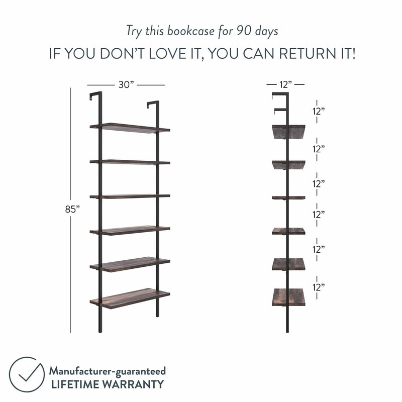 Zachary 85'' H x 30'' W Steel Ladder Bookcase