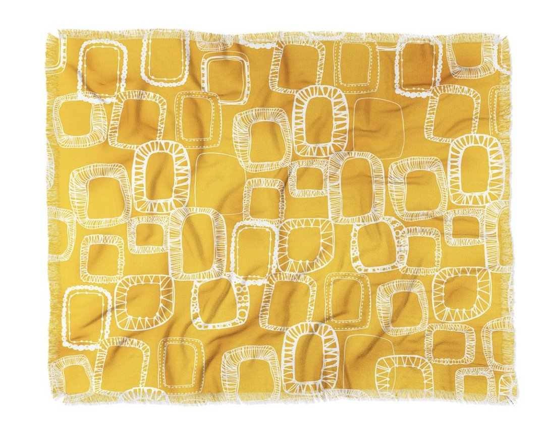 SHAPES AND SQUARES MUSTARD Throw Blanket