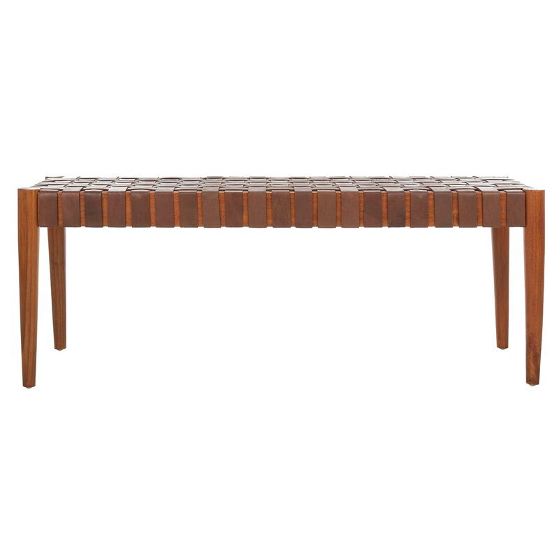 Albanese Genuine Leather Solid Wood Bench