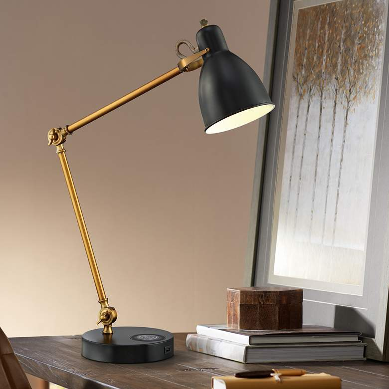 Wellington Desk Lamp with Wireless Charging and USB Port