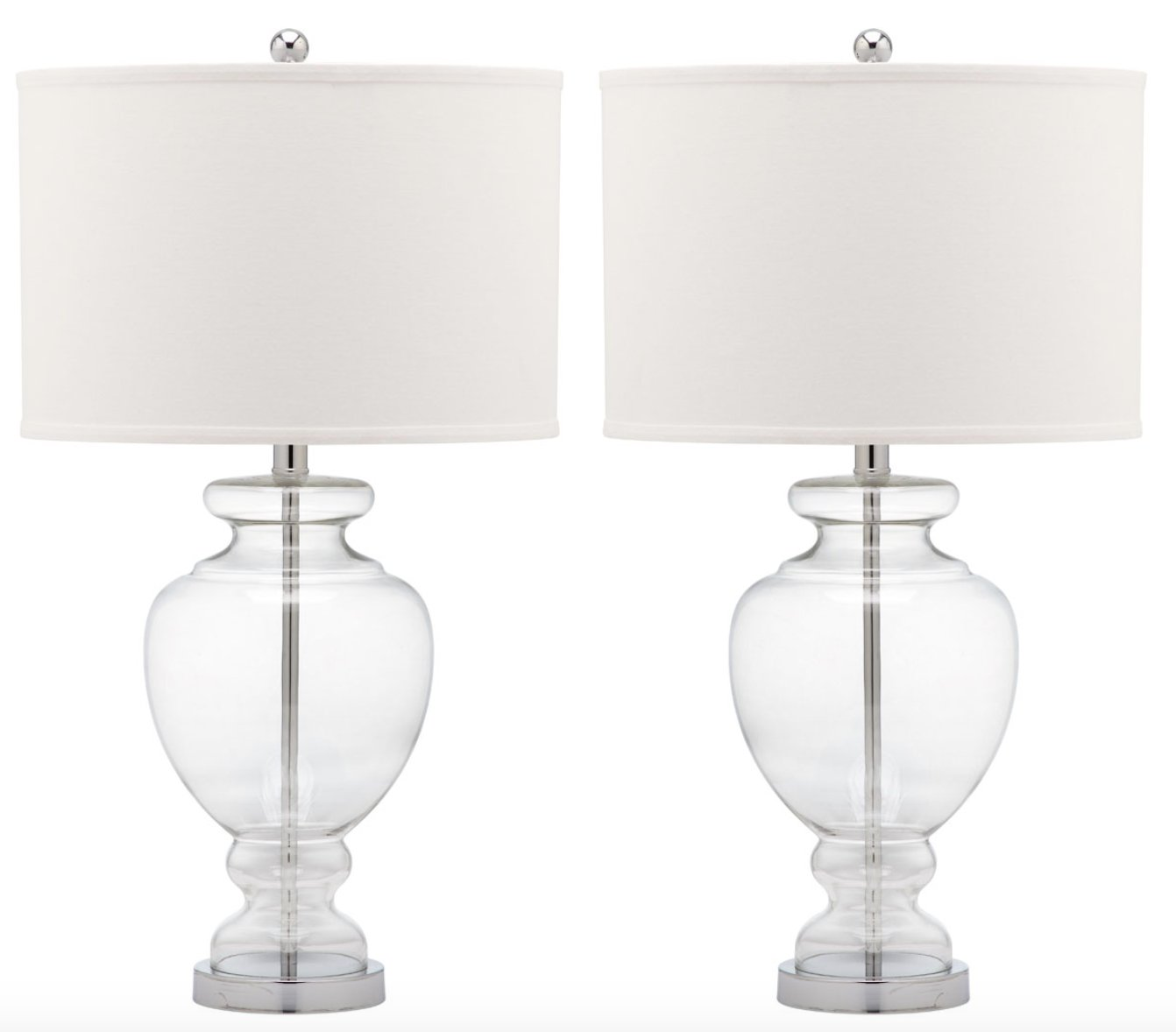 CLEAR GLASS TABLE LAMP / Set of 2