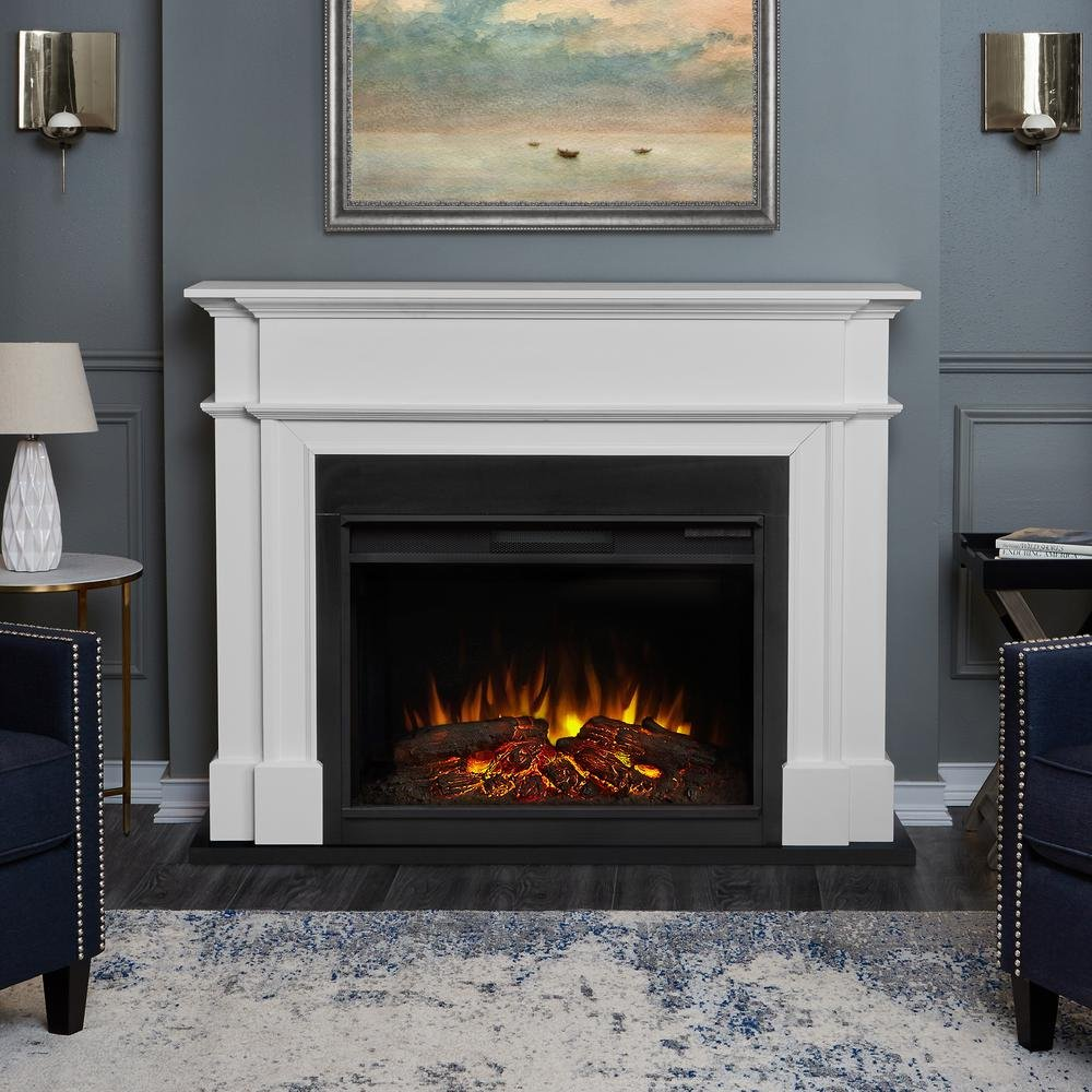 Harlan Grand 55 in. Electric Fireplace in White