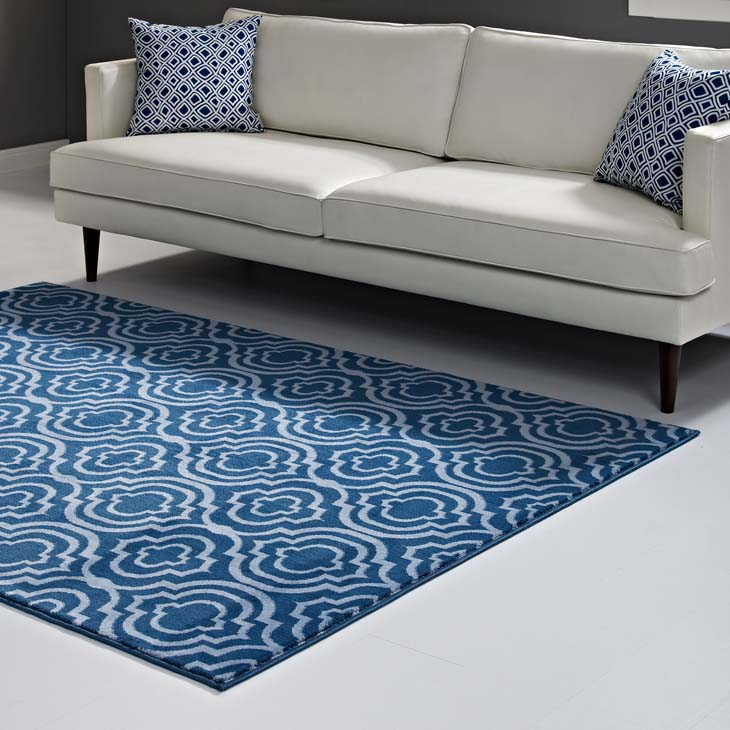 FRAME TRANSITIONAL MOROCCAN TRELLIS 5X8 AREA RUG IN MOROCCAN BLUE AND LIGHT BLUE