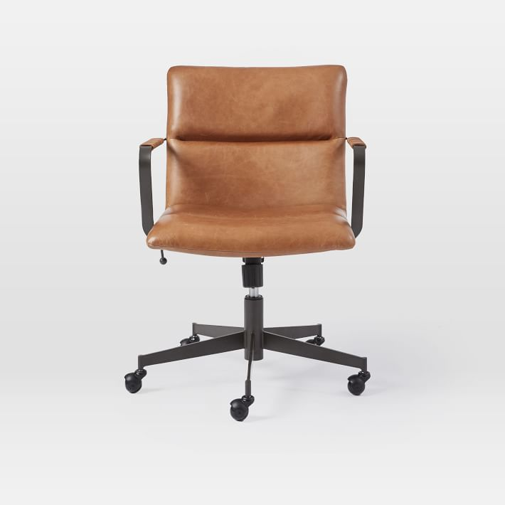 Cooper Mid Century Leather Swivel Office Chair West Elm