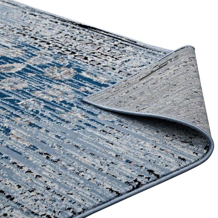 CHIARA DISTRESSED FLORAL LATTICE CONTEMPORARY 8X10 AREA RUG IN MOROCCAN BLUE